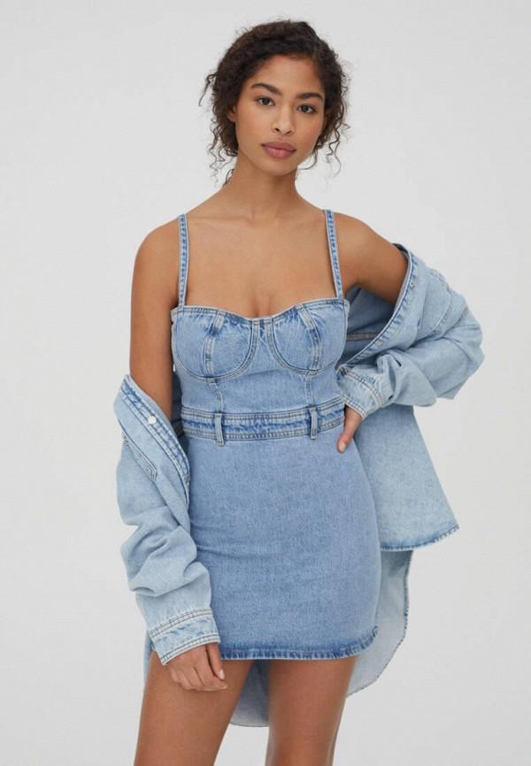 женское джинсовые платье pull & bear, голубое