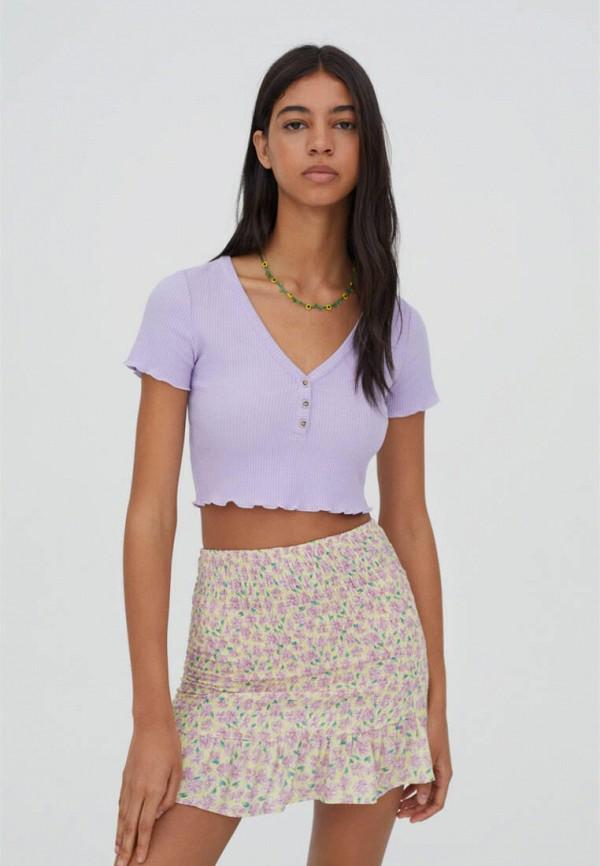 женский топ pull & bear, фиолетовый