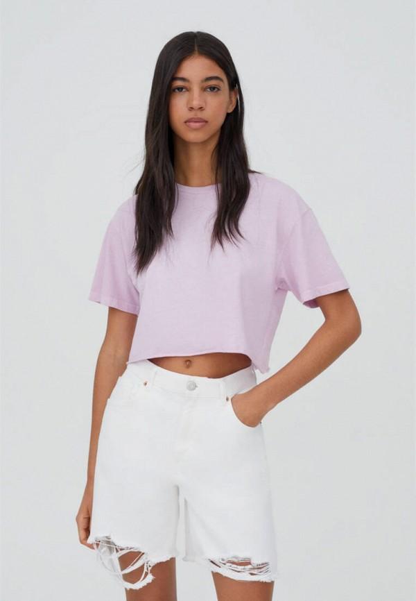 женская футболка pull & bear, фиолетовая