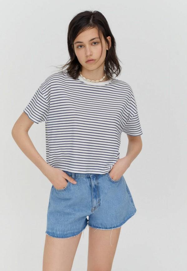 женская футболка pull & bear, синяя