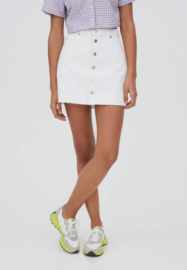 женская джинсовые юбка pull & bear, белая