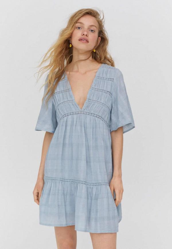 женское повседневные платье pull & bear, голубое