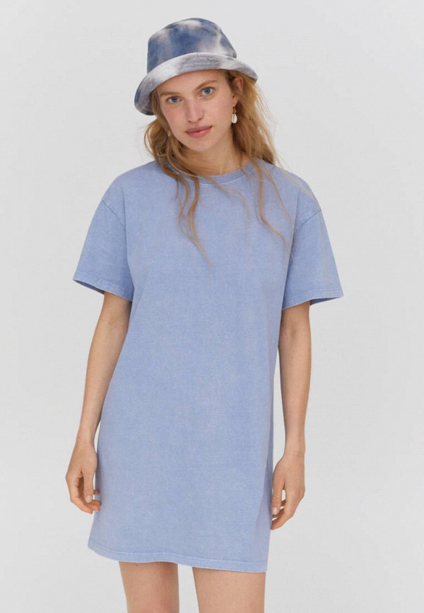 женское платье-футболки pull & bear, голубое