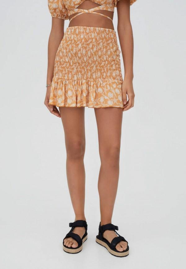 женская юбка-трапеции pull & bear, оранжевая