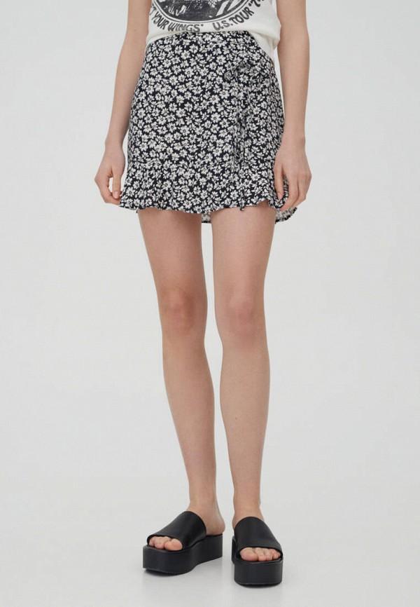 женская юбка-трапеции pull & bear, черная