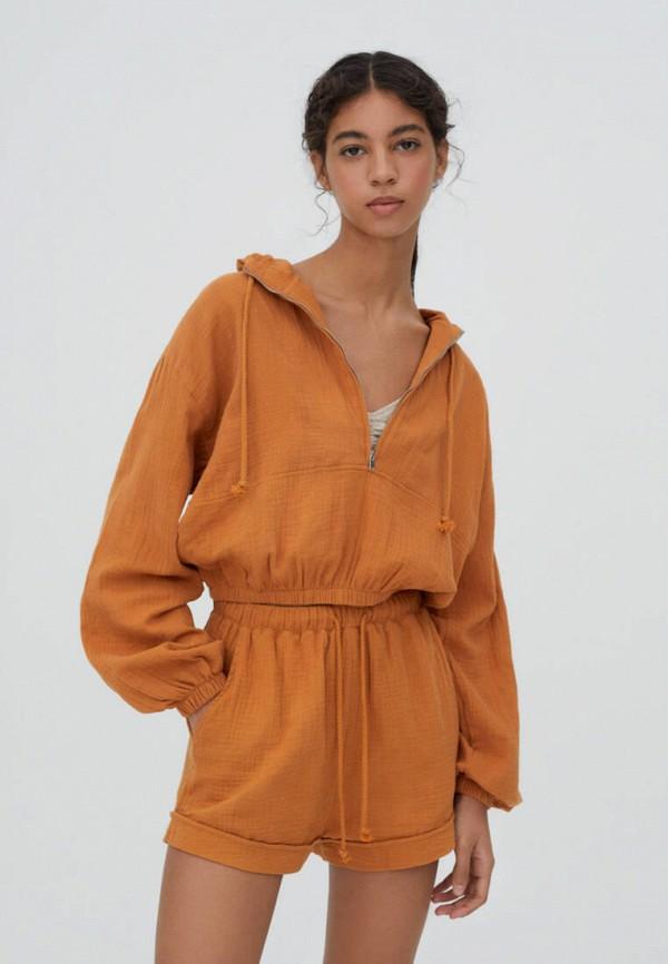 женская ветровка pull & bear, оранжевая