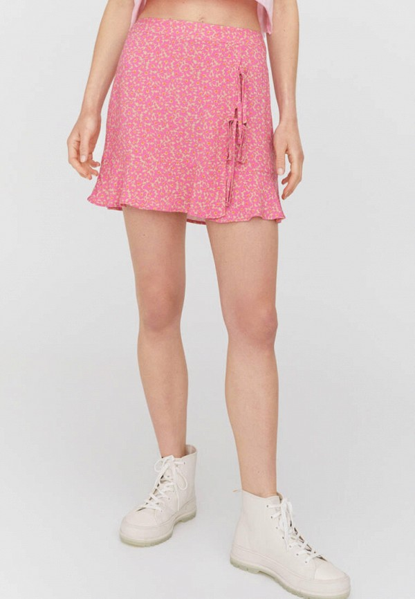 женская юбка-трапеции pull & bear, розовая