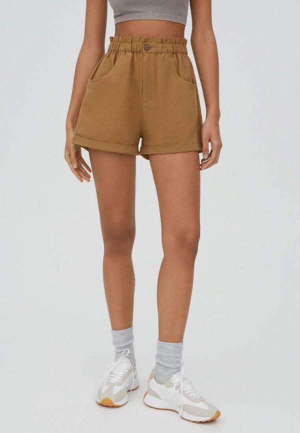 женские повседневные шорты pull & bear, коричневые