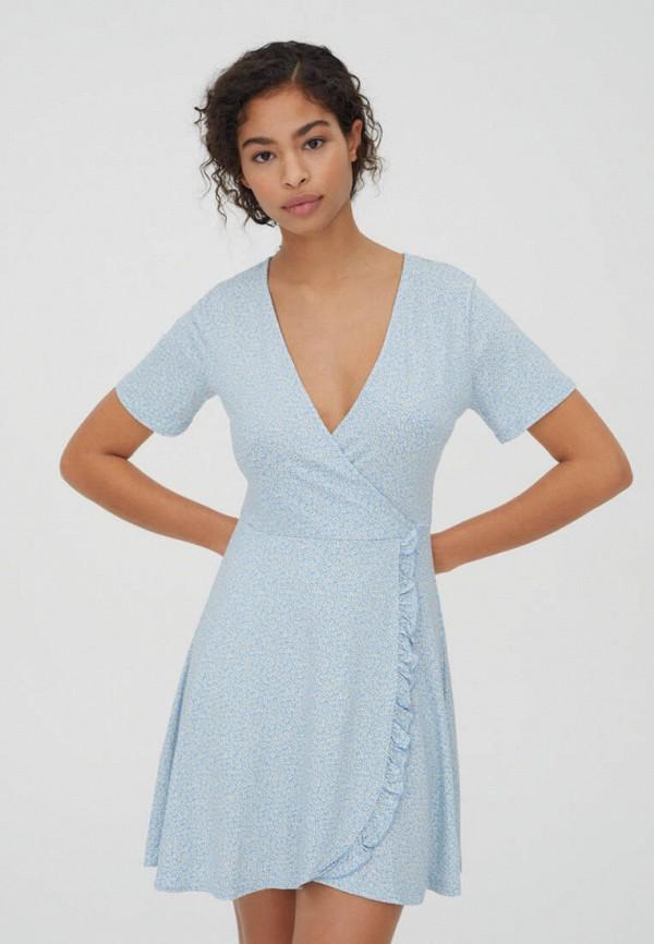 женское платье с запахом pull & bear, голубое
