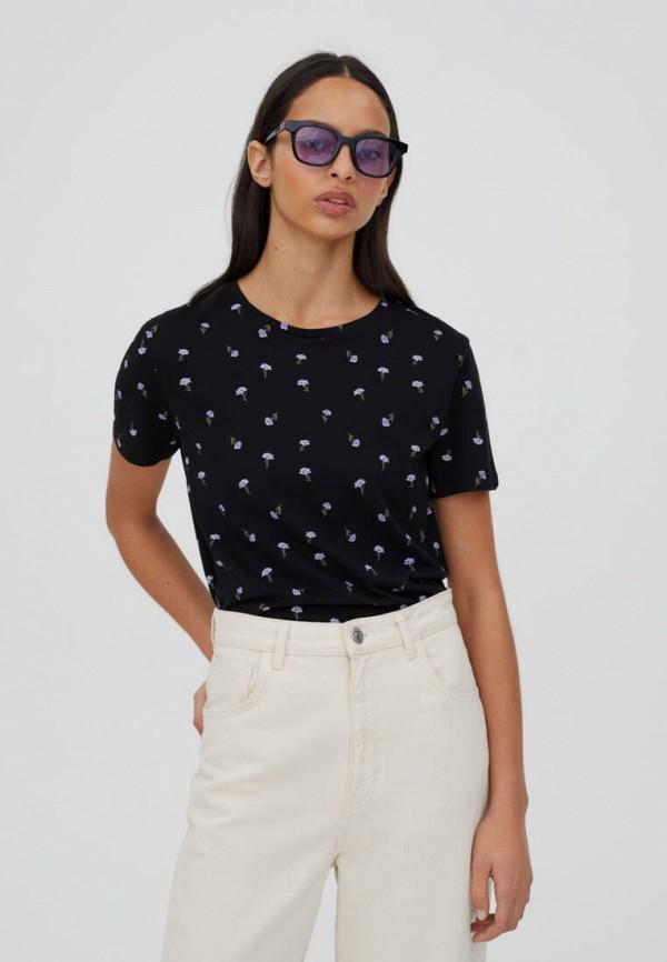 женская футболка pull & bear, черная