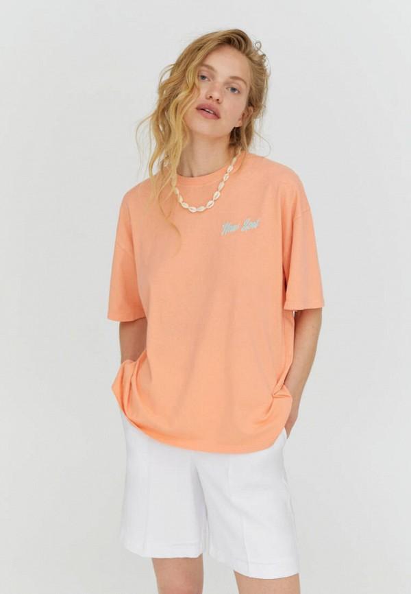 женская футболка pull & bear, оранжевая
