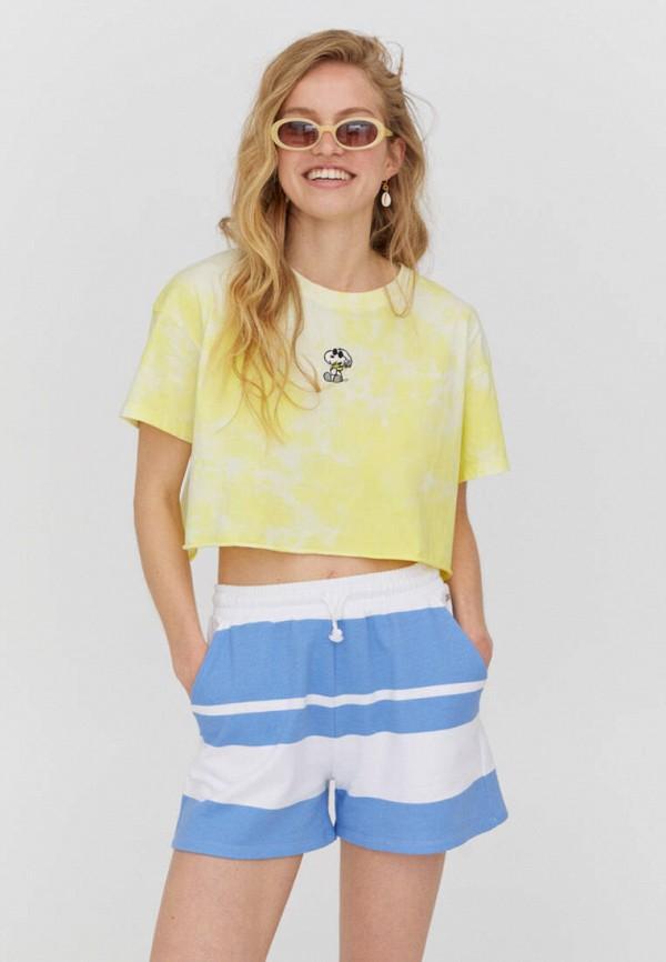 женская футболка pull & bear, желтая