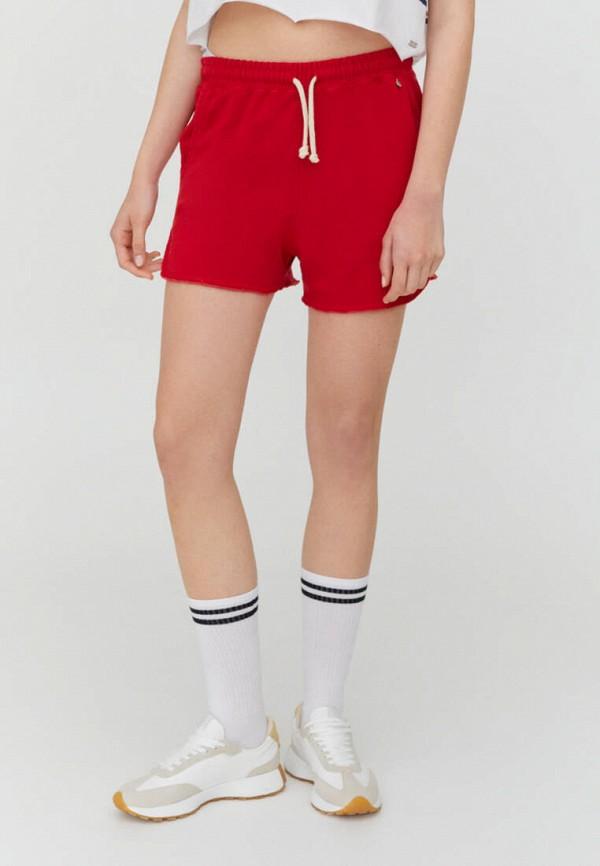женские спортивные шорты pull & bear, красные