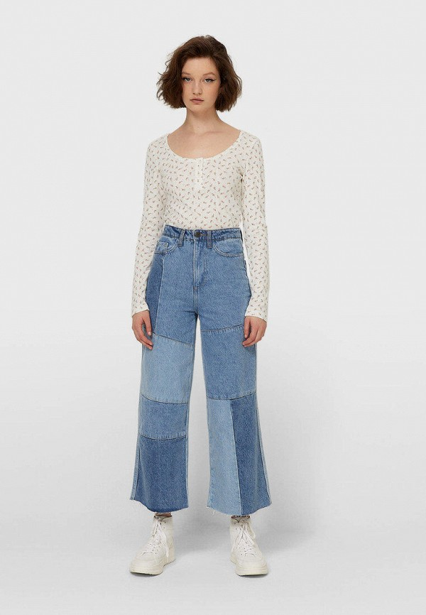 женские джинсы клеш stradivarius, голубые