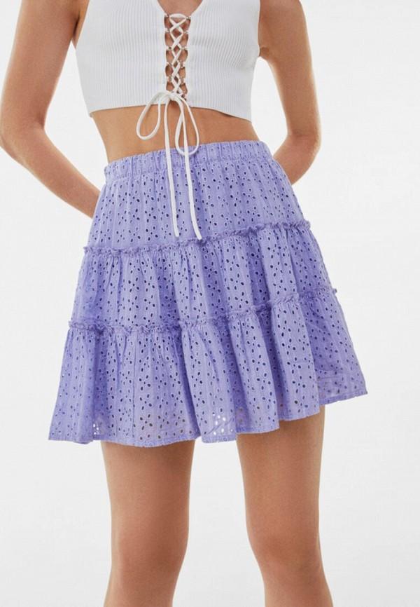 женская юбка-трапеции bershka, фиолетовая