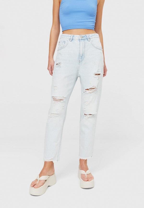 женские джинсы бойфренд stradivarius, голубые