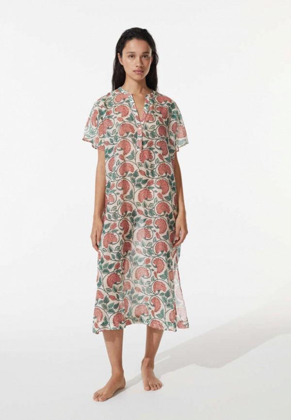 Платье пляжное Oysho. Цвет: бежевый