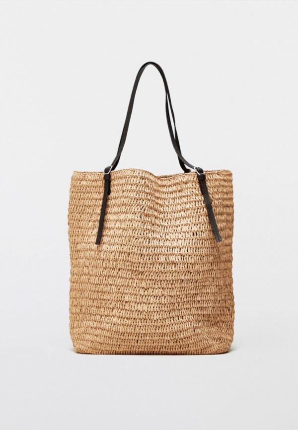 женская пляжные сумка massimo dutti, бежевая