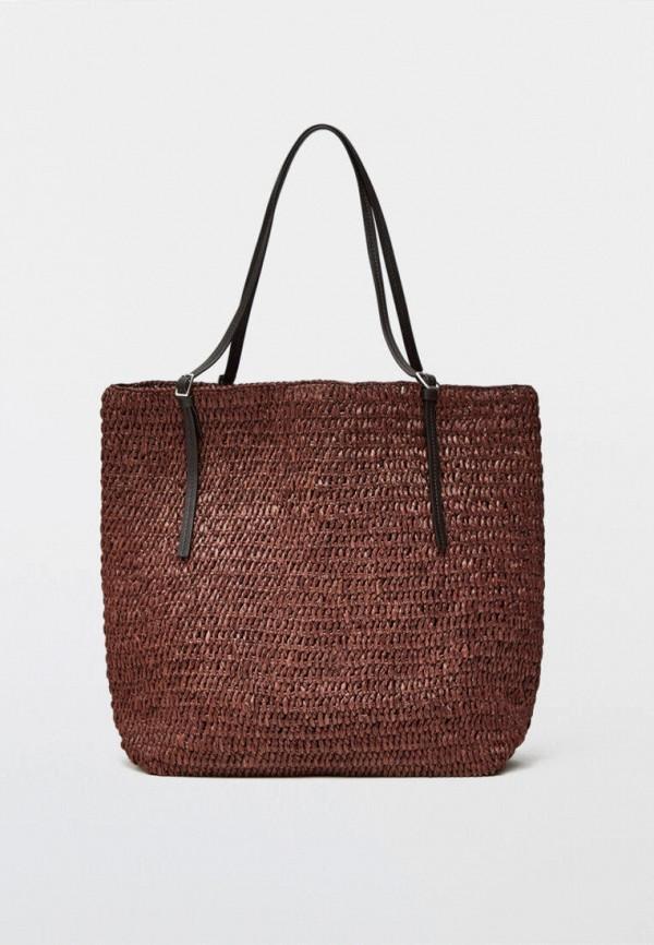 женская сумка-шоперы massimo dutti, коричневая