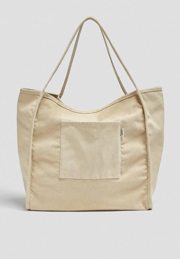 женская сумка-шоперы pull & bear, бежевая
