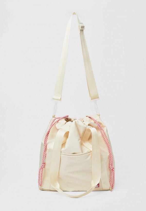 женская сумка-шоперы stradivarius, бежевая