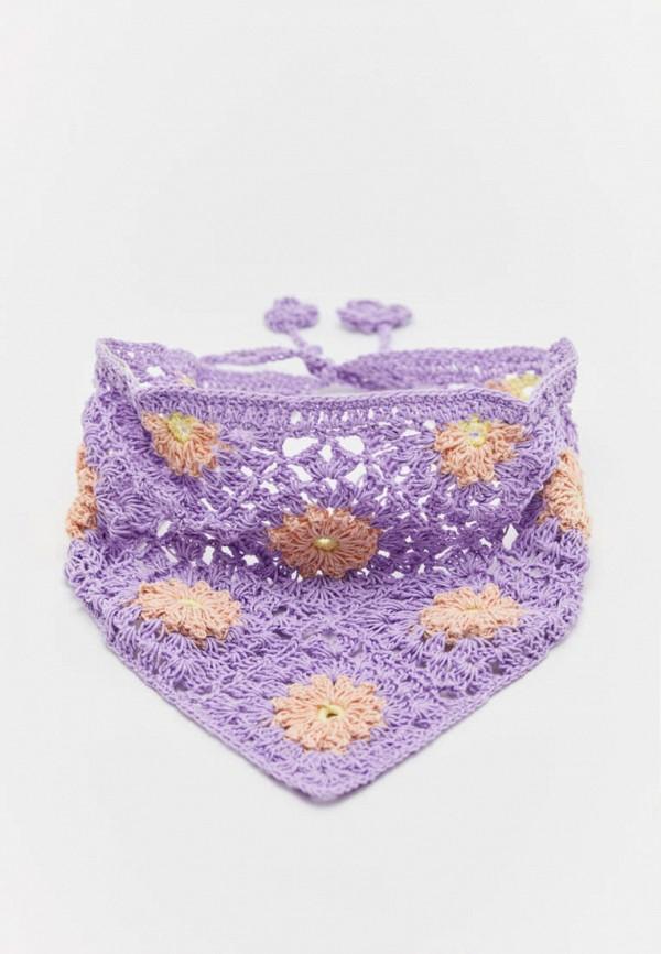 женский платок pull & bear, фиолетовый
