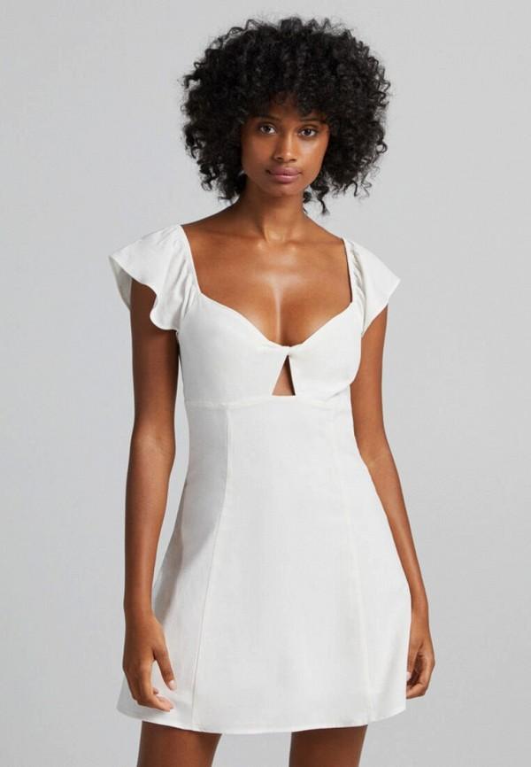 женское повседневные платье bershka, белое