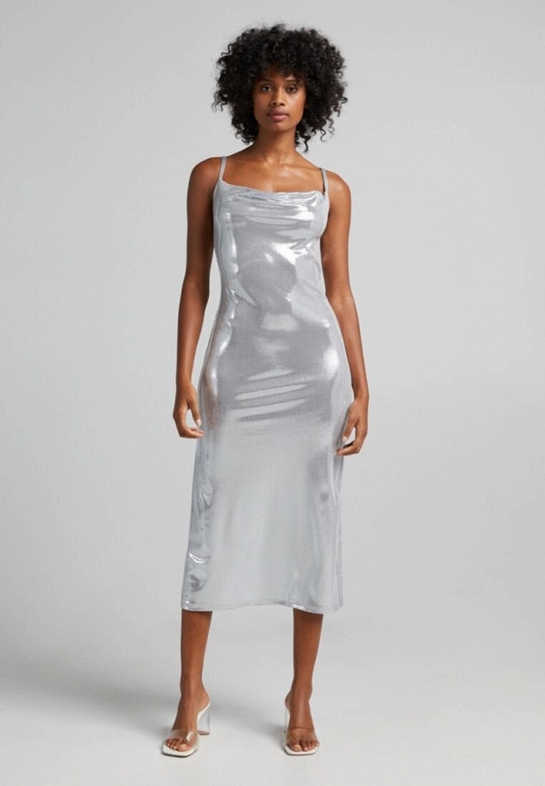 женское вечерние платье bershka, серебряное