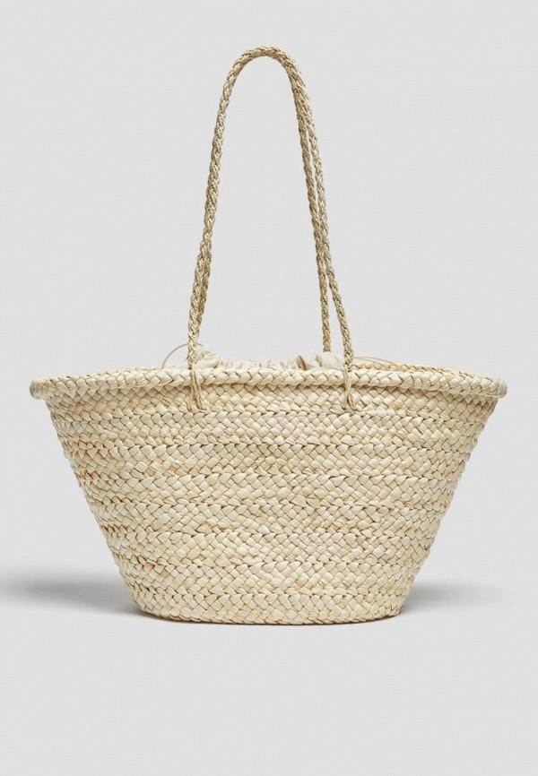 женская пляжные сумка pull & bear, бежевая