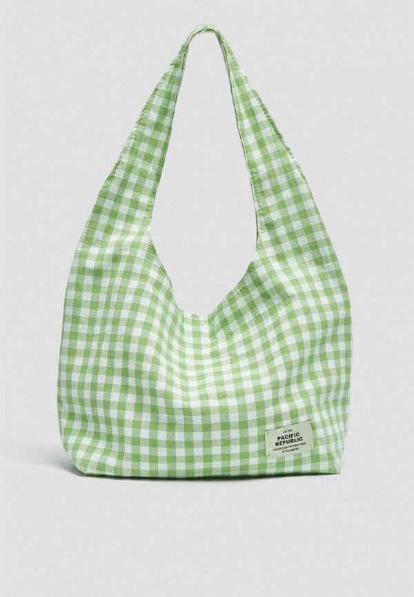 женская сумка с ручками pull & bear, зеленая