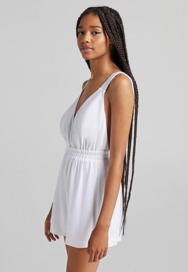женский комбинезон с шортами bershka, белый