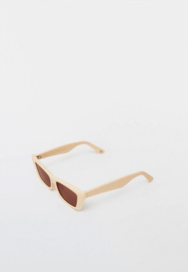 женские солнцезащитные очки кошачьи глаза massimo dutti, бежевые