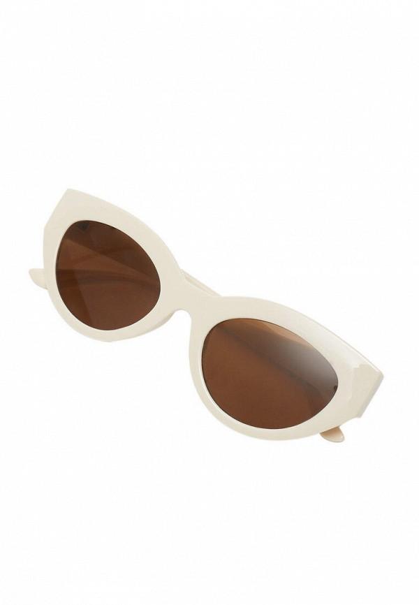 женские солнцезащитные очки кошачьи глаза stradivarius, бежевые