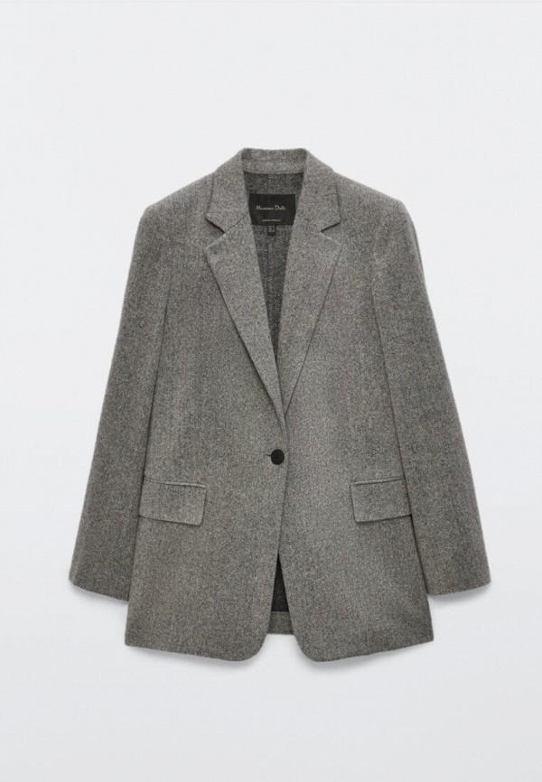 женский пиджак massimo dutti, серый
