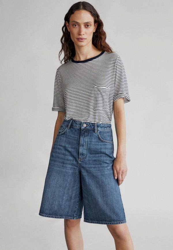 женские джинсовые шорты massimo dutti, синие