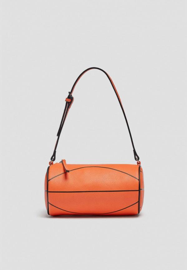 женская сумка с ручками pull & bear, оранжевая