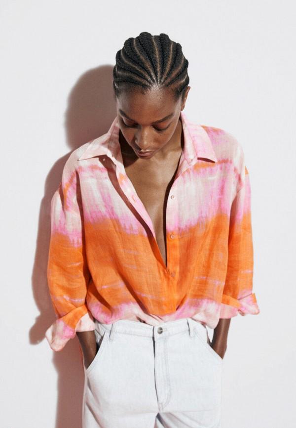 женская блузка с длинным рукавом massimo dutti, разноцветная