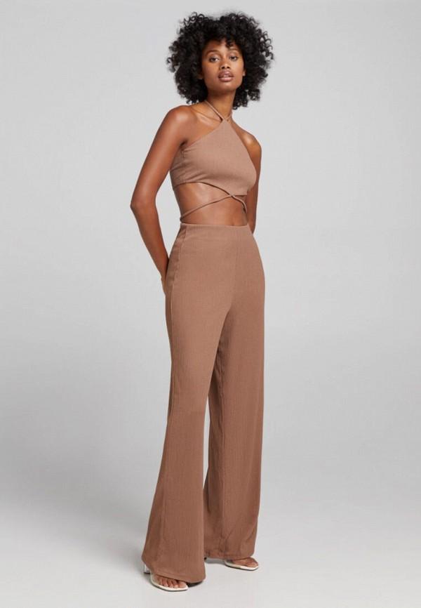 женский комбинезон с брюками bershka, коричневый