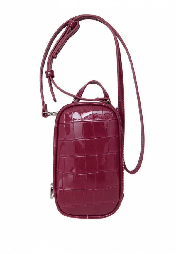 женская сумка через плечо stradivarius, бордовая