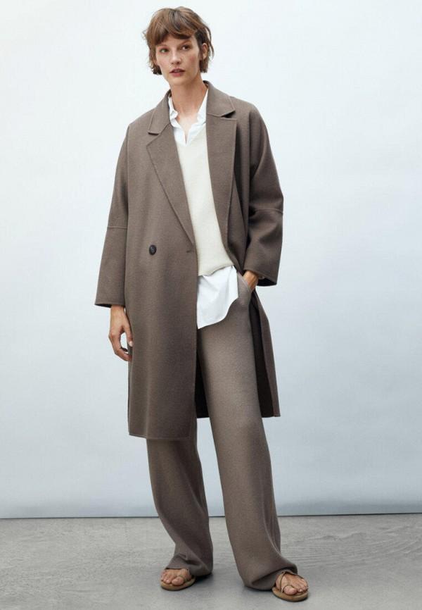 женское пальто massimo dutti, коричневое