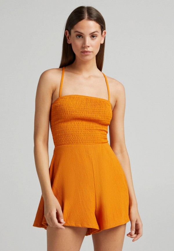 женский комбинезон с шортами bershka, оранжевый