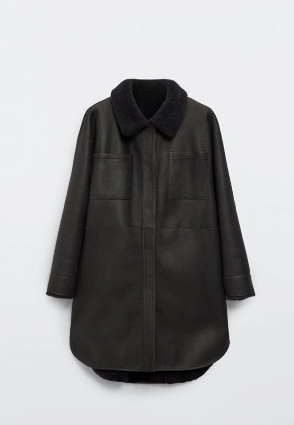 Куртка кожаная Massimo Dutti серого цвета