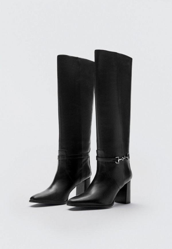женские ботфорты massimo dutti, черные