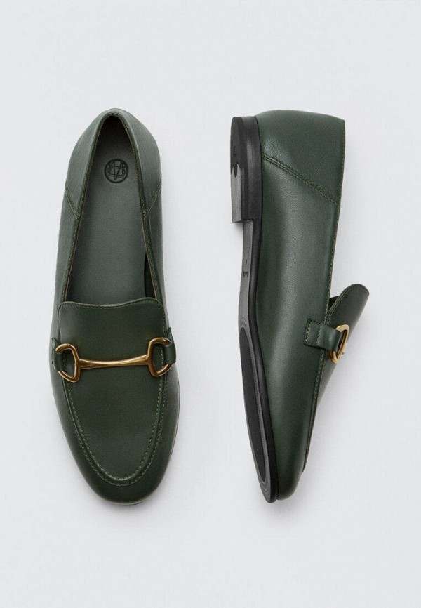 женские лоферы massimo dutti, зеленые