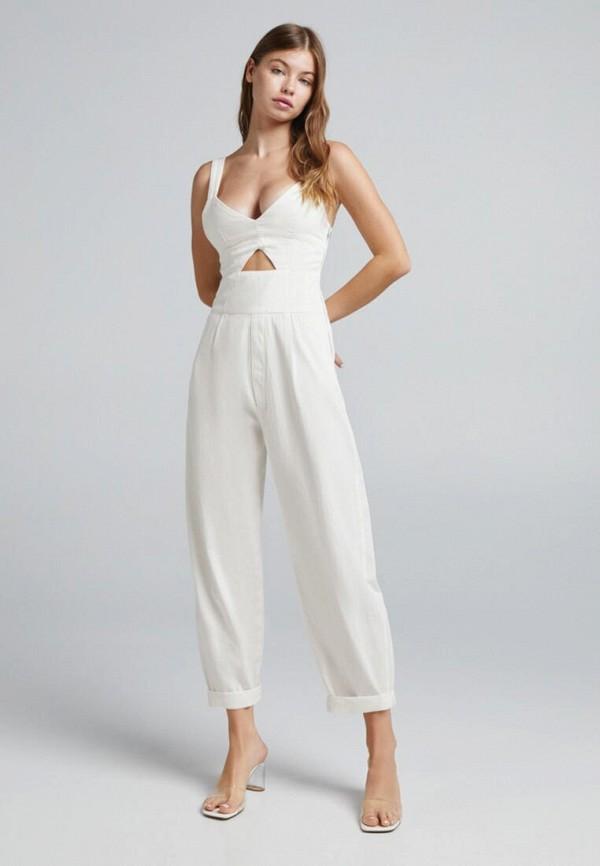 женский комбинезон с брюками bershka, белый