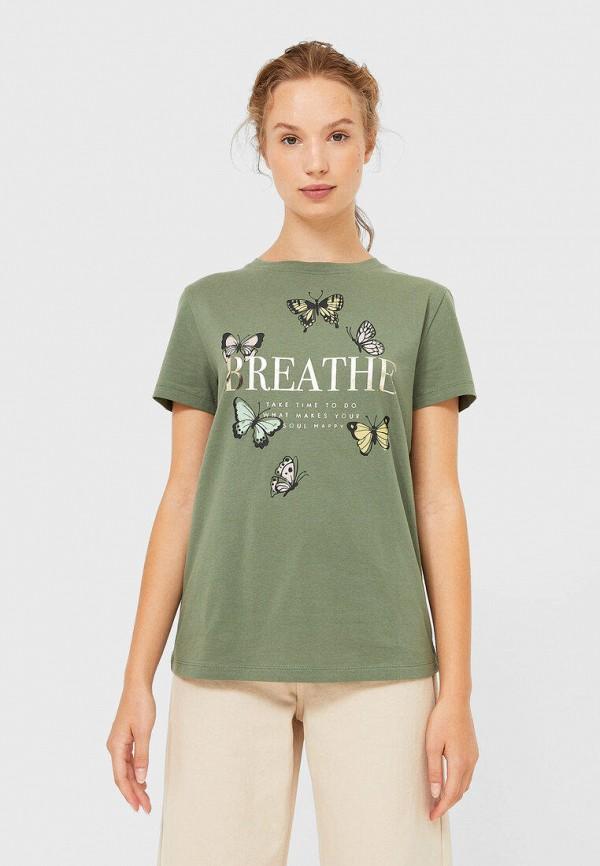 женская футболка stradivarius, зеленая
