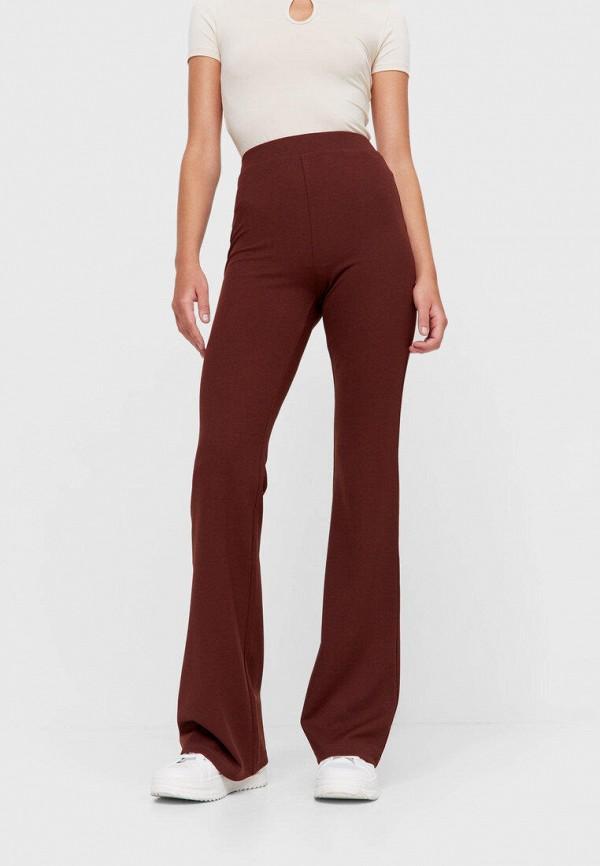 женские повседневные брюки stradivarius, коричневые