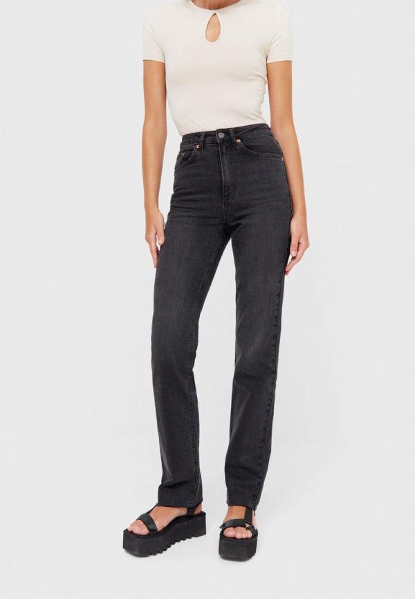 женские прямые джинсы stradivarius, черные