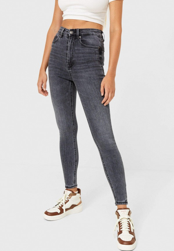 женские джинсы скинни stradivarius, серые