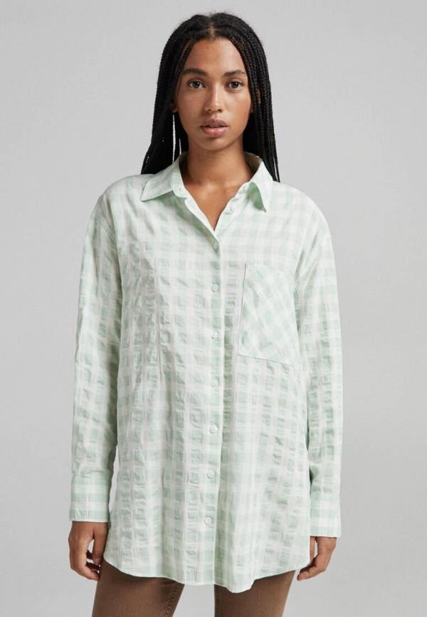 женская блузка с длинным рукавом bershka, зеленая